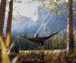 nature, mountains, and hammock image