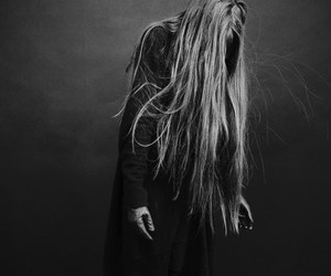 long hair, black and white, and dark image