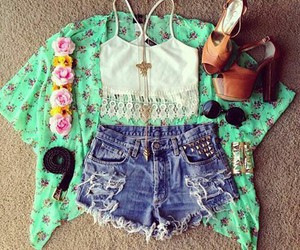 outfit, flowers, and shorts image