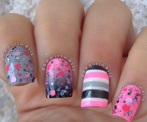 nails, pink, and stripes image
