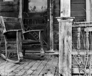 black and white and rocking chair image