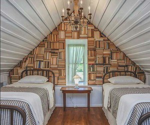 attic, bedroom, and books image