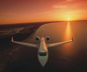 sun, airplane, and sunset image