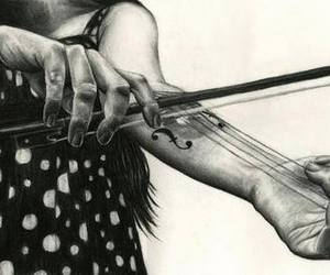 art, black and white, and music image