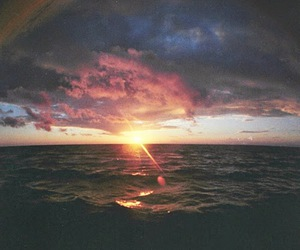 sunset, sun, and sea image