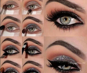 eyeliner, gray, and sparkley image