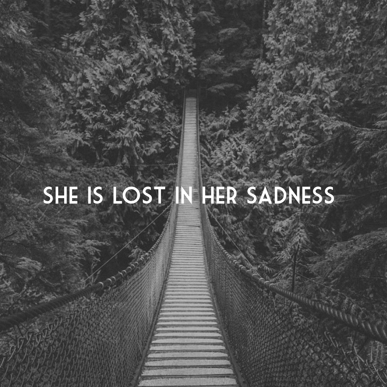 She is lost in her sadness on we heart it
