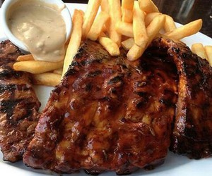 food, fries, and steak image