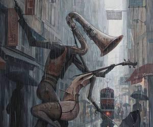 music, rain, and art image
