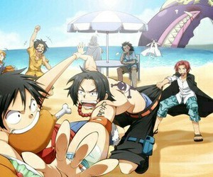 one piece, ace, and shanks image