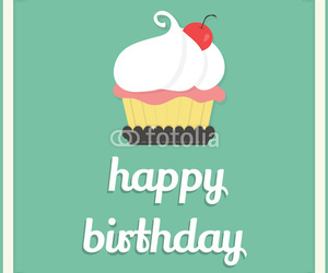 card, cupcake, and happy birthday image