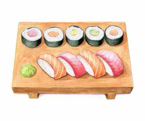 animation, japanese food, and sushi image