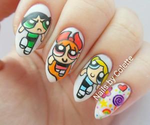 nails, bubbles, and cartoon image