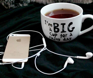 iphone, cup, and music image