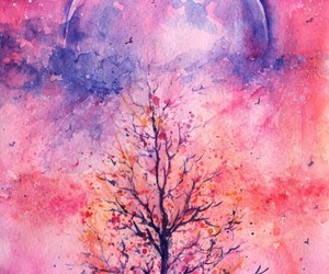 art, pink, and moon image