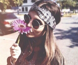 flowers, girl, and hippie image