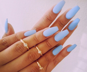 nails, blue, and rings image