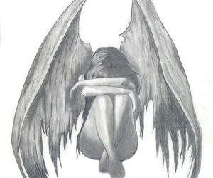 angel, sad, and drawing image