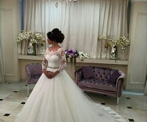 love, bride, and dress image