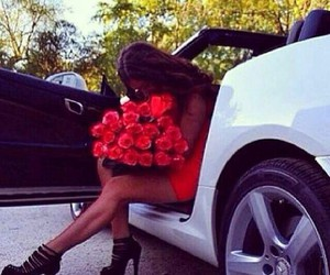 car, girl, and rose image