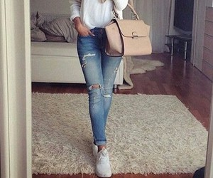 bag, blue, and ripped jeans image