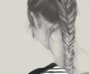 hair, girl, and drawing image