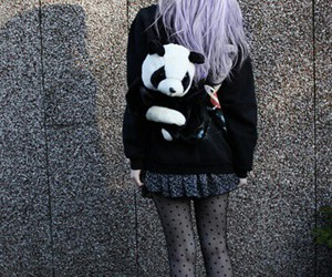 panda, hair, and grunge image