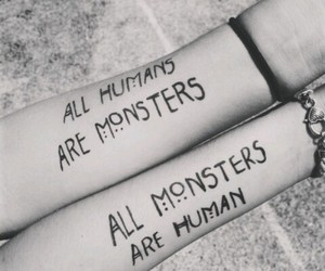 human, monster, and black and white image