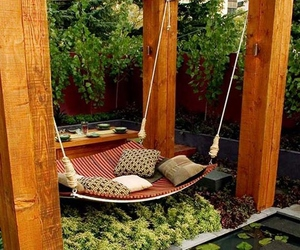garden, hammock, and relax image
