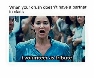crush, funny, and hunger games image