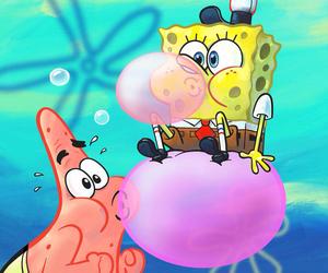 spongebob, patrick, and bubble gum image