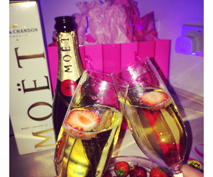 celebration, champagne, and strawberries image
