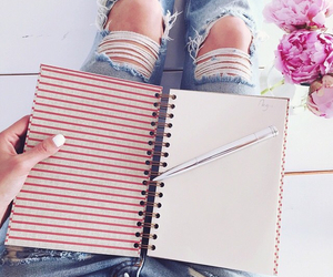 flowers, notebook, and school image