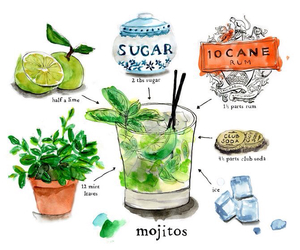 art, drink, and mojitos image