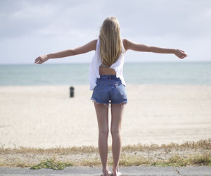 beach, girl, and l.a. image