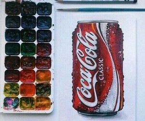 art, coca cola, and draw image