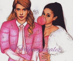 emma roberts, ariana grande, and scream queens image
