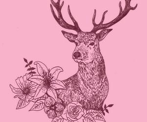 deer, drawing, and flowers image