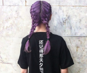 braids, dyed hair, and purple hair image