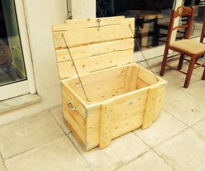 storage box, pallets creations, and pallets storage box image