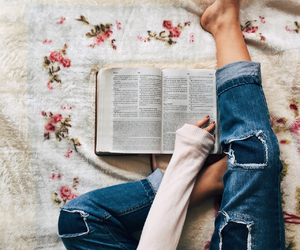 book, flowers, and jeans image