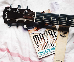 book, guitar, and music image