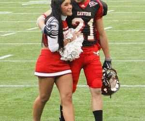 cheerleader, football player, and love image
