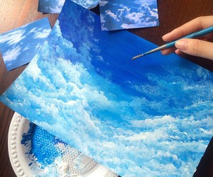 art, blue, and sky image