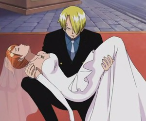 sanji, nami, and anime image
