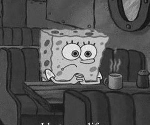 spongebob, sad, and black and white image