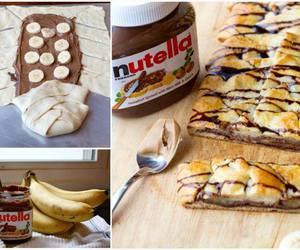 food, nutella, and banana image