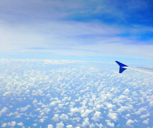 airplane, beautiful, and blue image