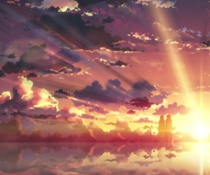 anime, sunset, and clouds image