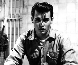 johnny depp, black and white, and cry baby image